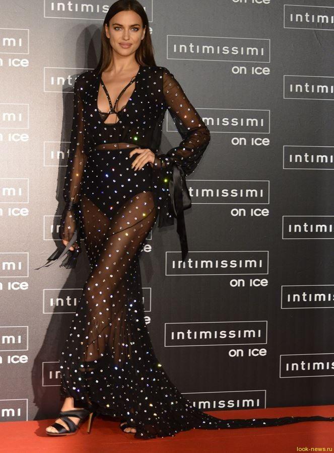Ирина Шейк пришла на ледовое шоу в прозрачном платье